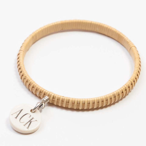 White ACK Basket Weave Bangle