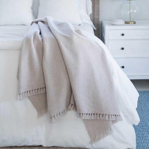 Oyster Handwoven Cashmere Throw
