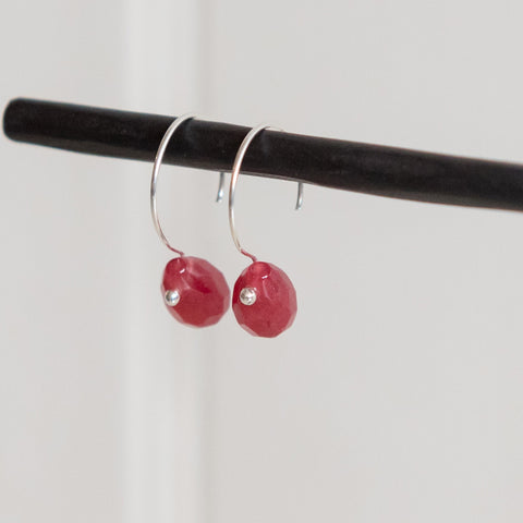 Small Garnet Red Stone Earrings