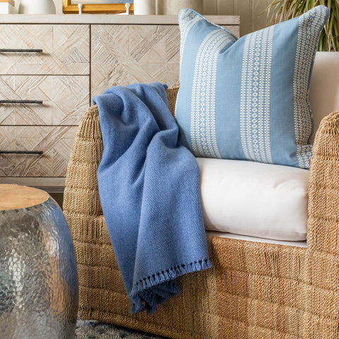 Cornflower Blue Handwoven Cashmere Throw