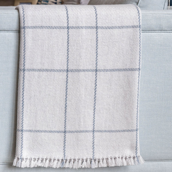 Gray & Steel Blue Windowpane Handwoven Cashmere Throw