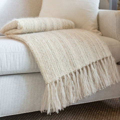 Windswept Ivory Handwoven Multi-Fiber Throw