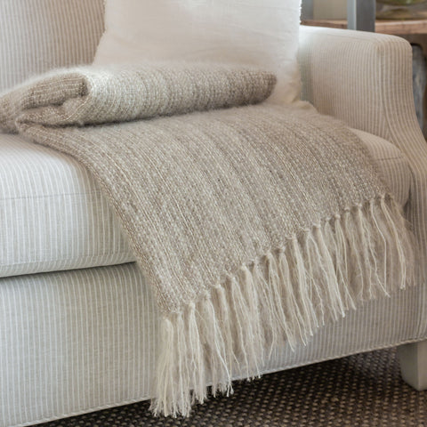 Windswept Taupe Handwoven Multi-Fiber Throw
