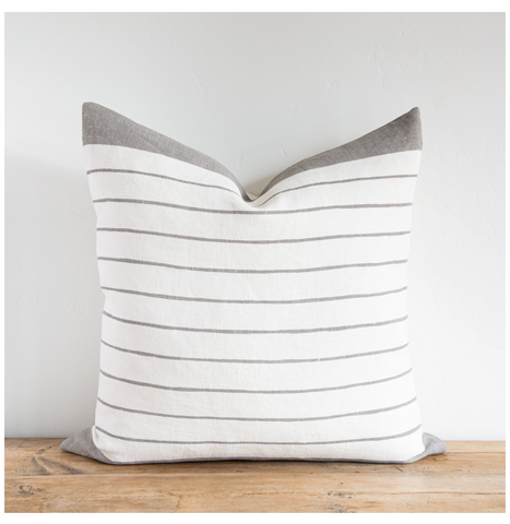 Gray Block Stripe Pillow