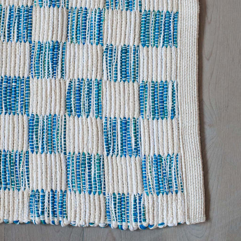 Seaglass Blue Handwoven Block Rug