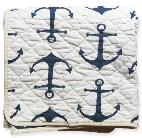 Blue and White Anchor Canvas Beach Blanket