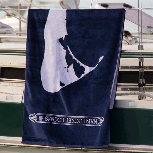 Navy Nantucket Looms Signature Towel