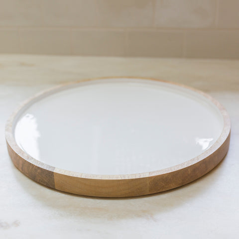 Mango Wood & Enamel Serving Tray