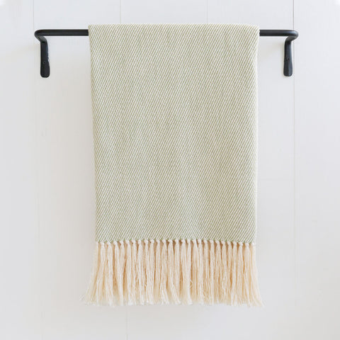 Apple Green Handwoven Cotton Throw