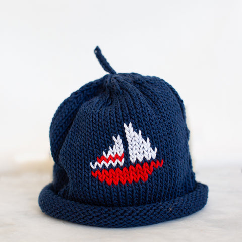Navy Sailboat Baby Hat