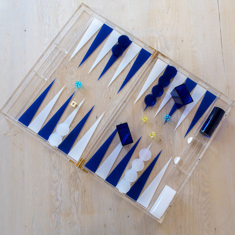 Nautical Blue and White Backgammon Board