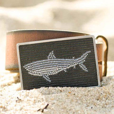 Shark Buckle on Leather Belt
