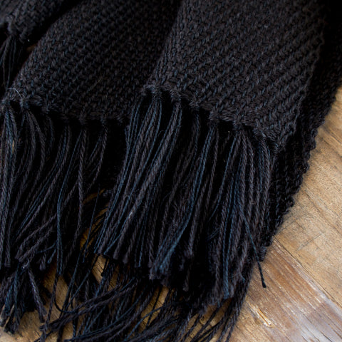 Black Handwoven Alpaca & Silk Wrap