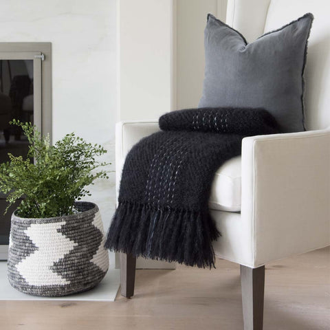 Black with Gray Handwoven Mohair Throw