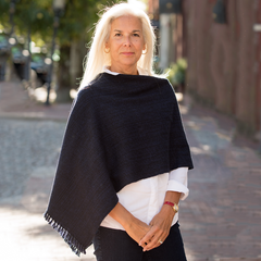 Midnight Handwoven Cashmere Poncho