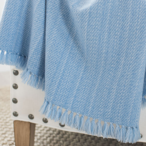 Sky Blue Handwoven Cashmere Throw