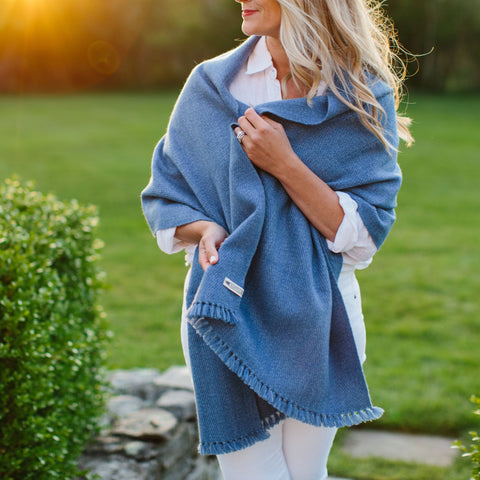Cottage Blue Handwoven Cashmere Wrap