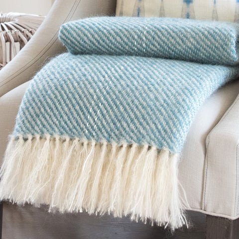 Blue-Green Handwoven Mohair Throw