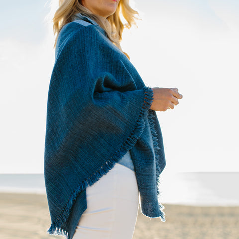 Midnight Blue Handwoven Cashmere Poncho