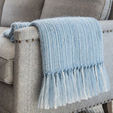 Summer Sky Blue Mohair & Silk Throw