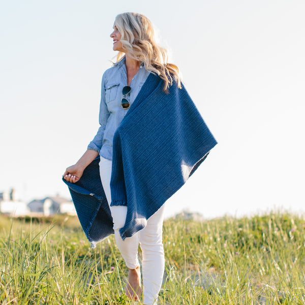 Midnight Blue Handwoven Cashmere Wrap