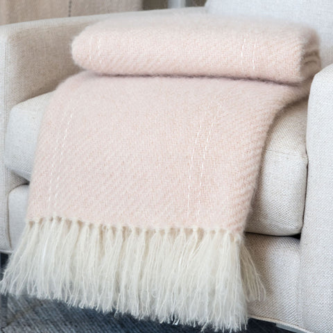 Blush Pink Handwoven Mohair Throw