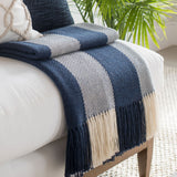 Captain's Blue Stripe Alpaca Throw