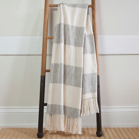 Gray & White Cabana Stripe Handwoven Cotton Throw