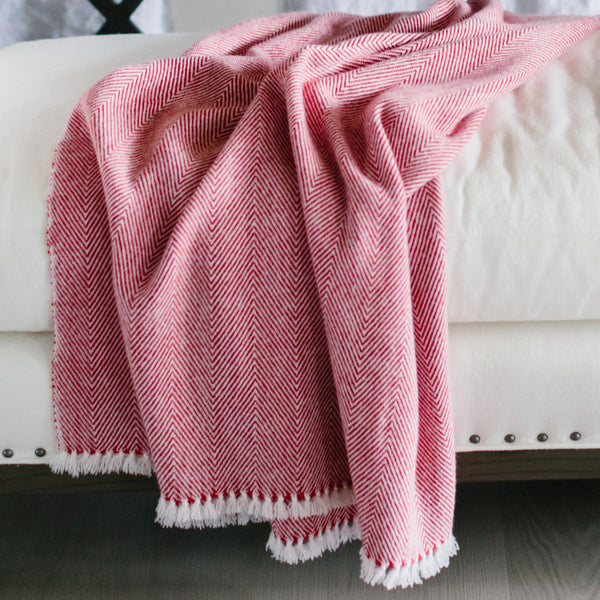 Handwoven Candy Cane Cashmere Throw