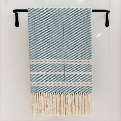 Cerulean Blue Handwoven Cotton Throw
