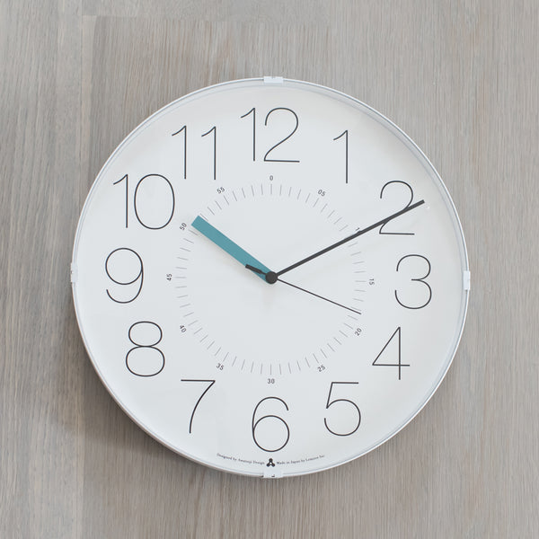 Contemporary Clock With Blue Green Hands