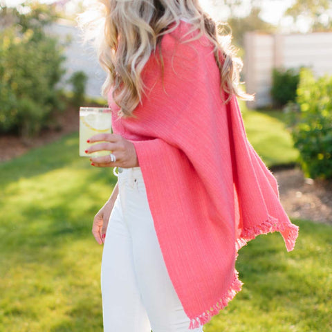 Coral Red Handwoven Cashmere Poncho