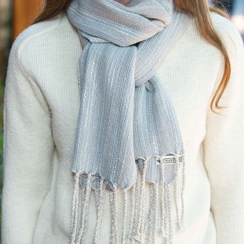 Gray-Blue Handwoven Cotton Scarf
