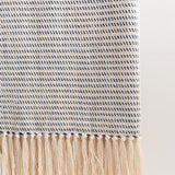 Deep Sea Blue Striped Handwoven Cotton Throw