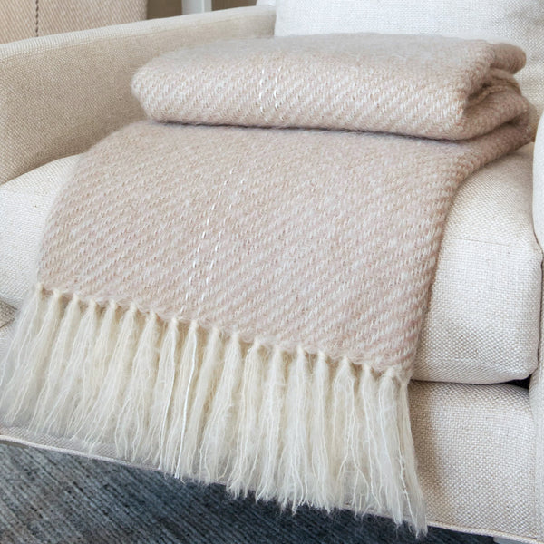 Pebble Taupe Handwoven Mohair Throw