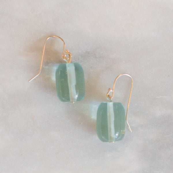 Frosted Green Earrings