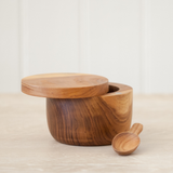 Teak Salt Cellar with Spoon