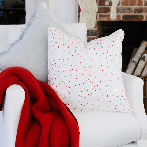 Berry Red Splatter Dot Pillow