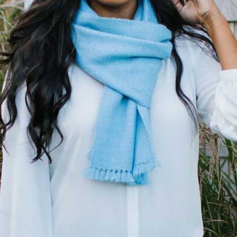 Serenity Blue Handwoven Cashmere Scarf