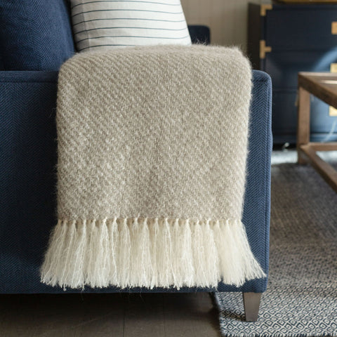 Mushroom Handwoven Mohair Throw
