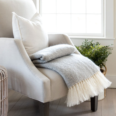 Fog Gray Handwoven Mohair Throw