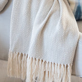 Fog Gray Handwoven Cotton Throw