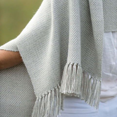 Fog Gray Handwoven Alpaca & Silk Wrap