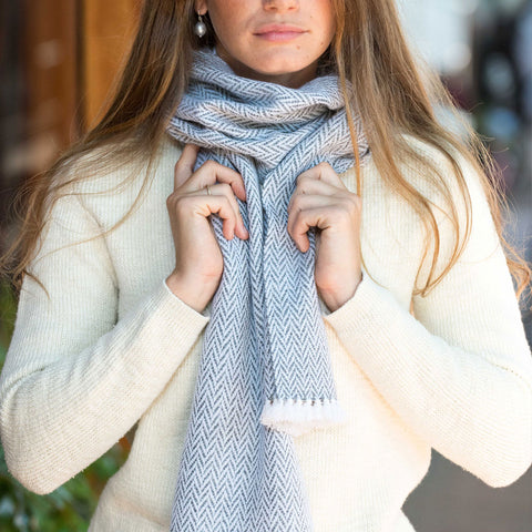 Gray & Charcoal Herringbone Handwoven Cashmere Scarf