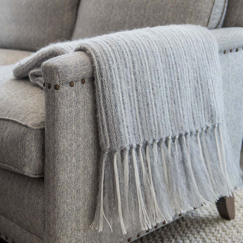 Gray Mohair & Silk Throw