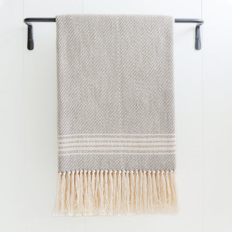 Gray Taupe & Ivory Stripe Handwoven Cotton Throw