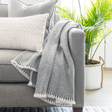 Gray Charcoal Twill Handwoven Cashmere Throw