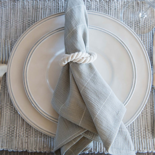 Gray and White Pinstripe Cotton Napkins