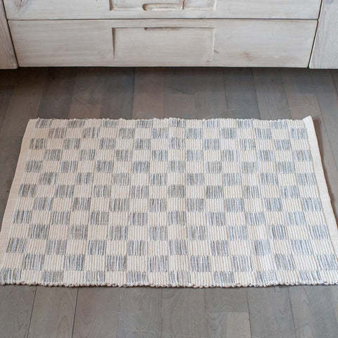 Fog Gray Handwoven Block Rug