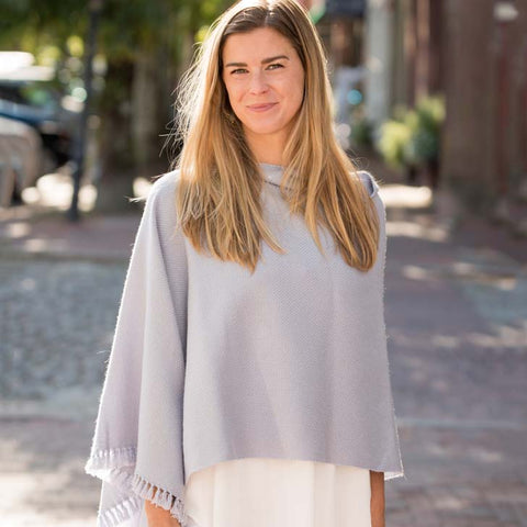 Mist Gray Handwoven Cashmere Poncho